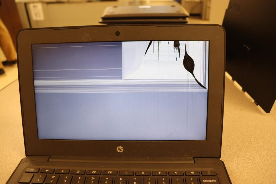 This is what a broken Chromebook screen looks like. Protect your electronics!