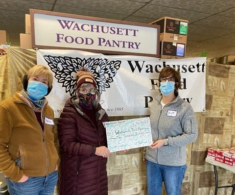 This huge check represents the $10,000 that Wachusett teachers raised and donated to the Wachusett Food Pantry.