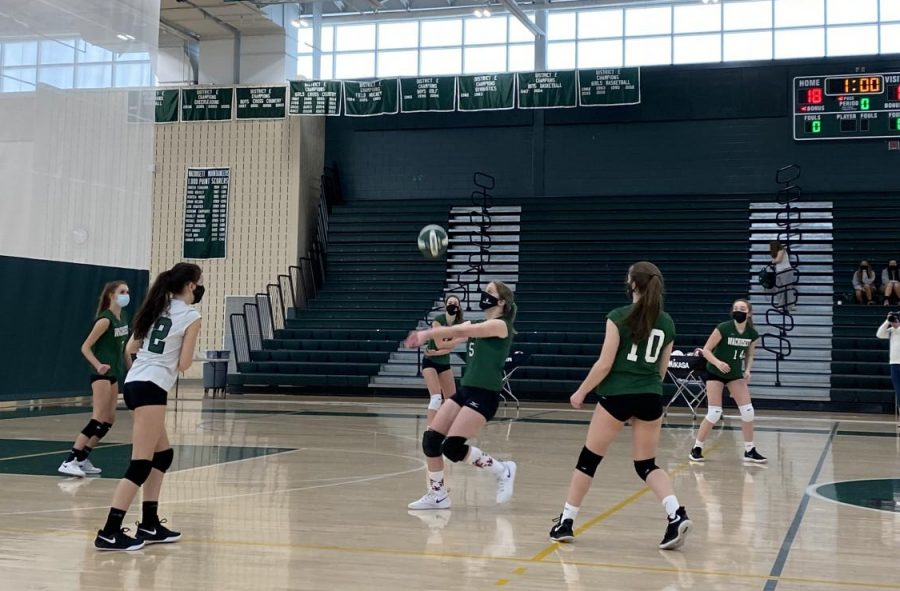 Wachusett+number+5+getting+ready+to+bump+the+volleyball.