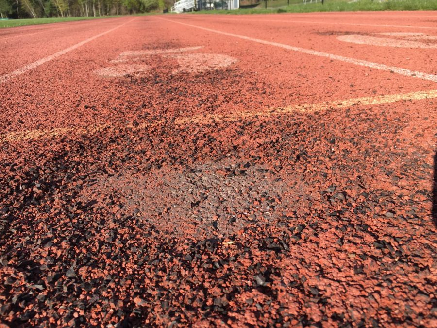 The upper football field is in dire need of repair!